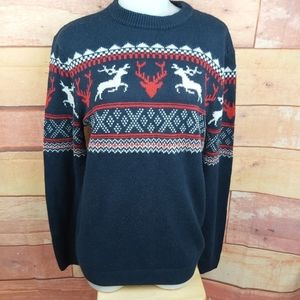 Divided knitted sweater dear graphic 100% acrylic